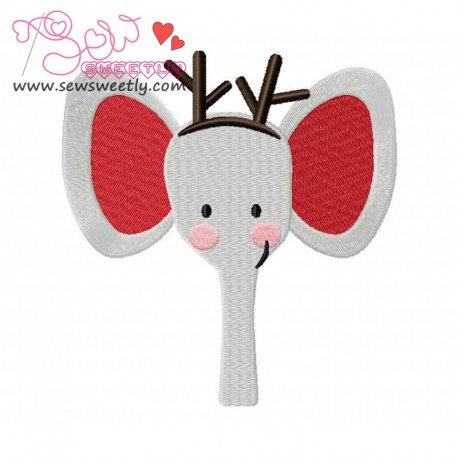 Cute Christmas Elephant Face Embroidery Design