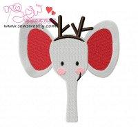 Christmas Elephant Face Embroidery Design