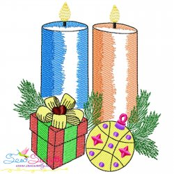 Christmas Candles-3 Light Fill Embroidery Design Pattern- Category- Christmas Designs- 1
