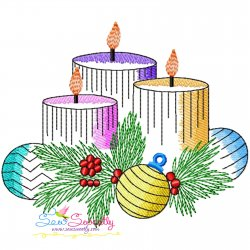 Christmas Candles-2 Light Fill Embroidery Design Pattern- Category- Christmas Designs- 1