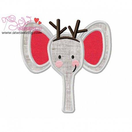 Cute Christmas Elephant Face Applique Design