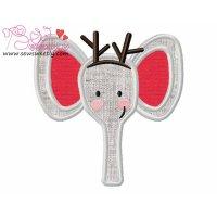 Christmas Elephant Face Applique Design