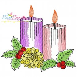 Christmas Candles-1 Light Fill Embroidery Design Pattern- Category- Christmas Designs- 1