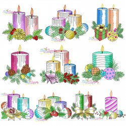 Christmas Candles Light Fill Embroidery Design Bundle Pattern- Category- Embroidery Design Bundles- 1