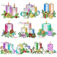 Christmas Candles Light Fill Embroidery Design Bundle