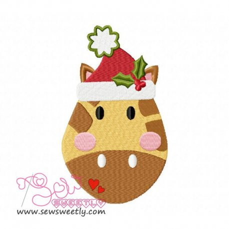 Cute Christmas Giraffe Face Embroidery Design