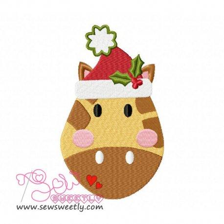 Cute Christmas Giraffe Face Embroidery Design