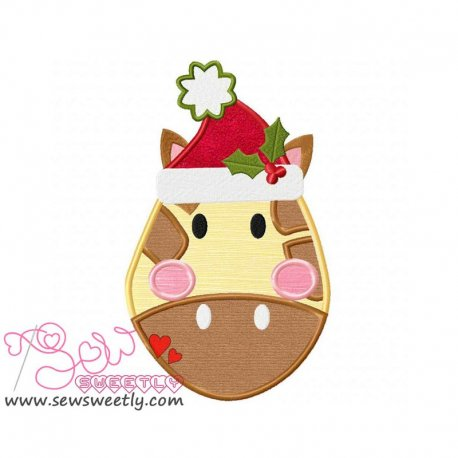 Cute Christmas Giraffe Face Applique Design