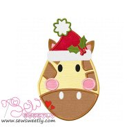Christmas Giraffe Face Applique Design