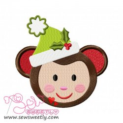 Christmas Monkey Face Embroidery Design