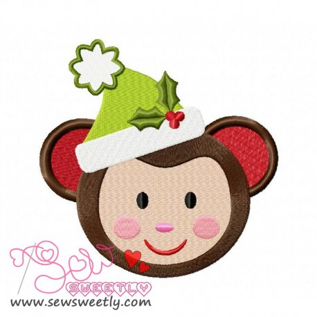 Cute Christmas Monkey Face Embroidery Design
