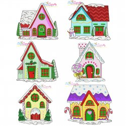 Christmas Houses Embroidery Design Bundle
