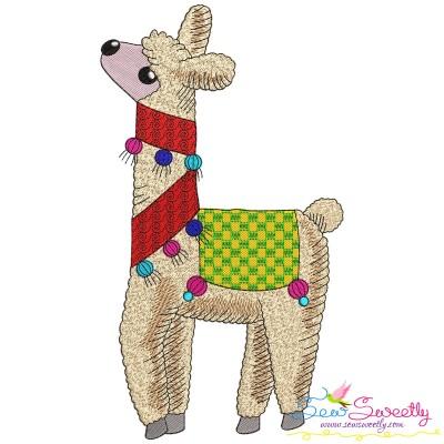 Christmas Llama-4 Embroidery Design