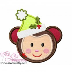 Christmas Monkey Face Applique Design