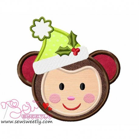 Cute Christmas Monkey Face Applique Design