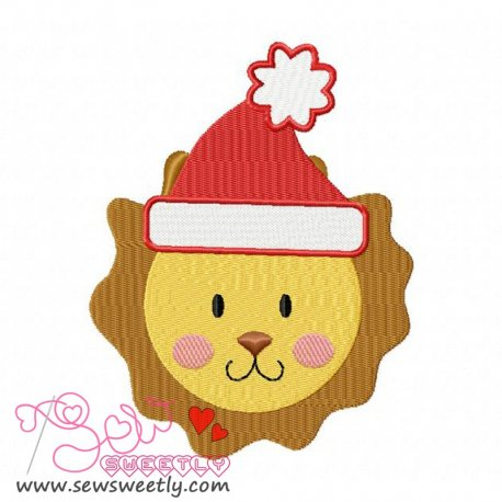 Cute Christmas Lion Face Embroidery Design