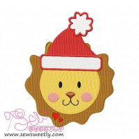 Christmas Lion Face Embroidery Design