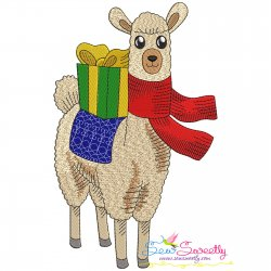 Christmas Llama-3 Embroidery Design