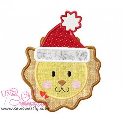 Christmas Lion Face Applique Design