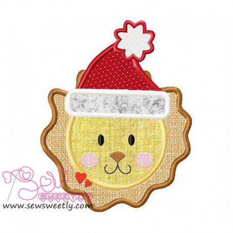 Cute Christmas Lion Face Applique Design