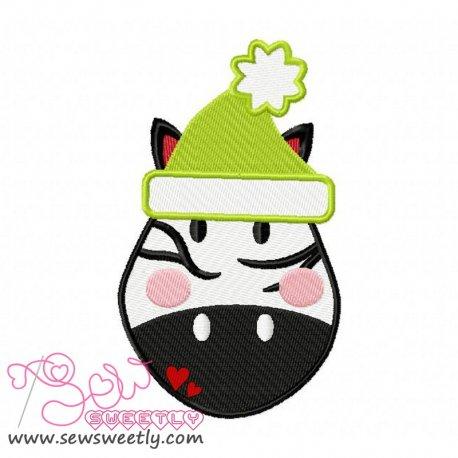 Cute Christmas Zebra Face Embroidery Design