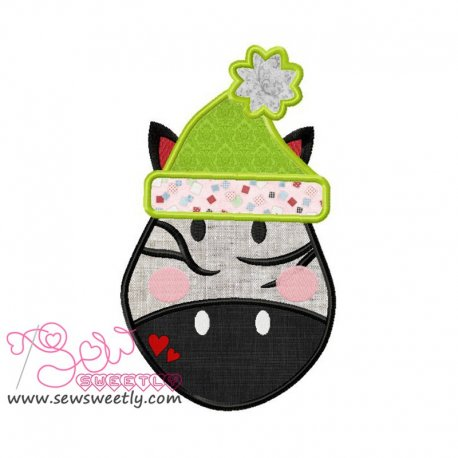 Cute Christmas Zebra Face Applique Design
