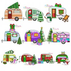 Christmas Caravans Embroidery Design Bundle