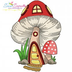 Gnome Mushroom House-10 Embroidery Design