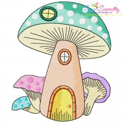 Gnome Mushroom House-9 Embroidery Design