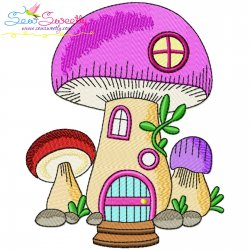 Gnome Mushroom House-8 Embroidery Design