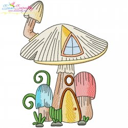 Gnome Mushroom House-7 Embroidery Design