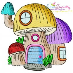 Gnome Mushroom House-6 Embroidery Design