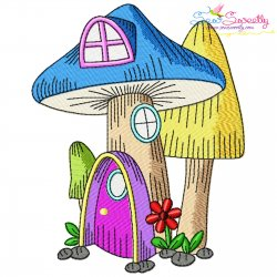 Gnome Mushroom House-5 Embroidery Design