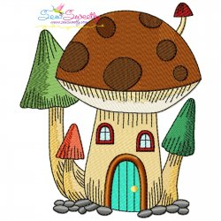Gnome Mushroom House-4 Embroidery Design