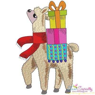 Christmas Llama-2 Embroidery Design