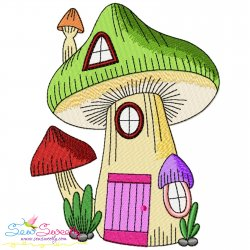 Gnome Mushroom House-3 Embroidery Design