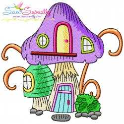 Gnome Mushroom House-2 Embroidery Design