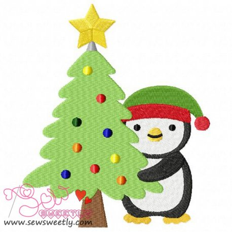 Cute Christmas Penguin-2 Embroidery Design