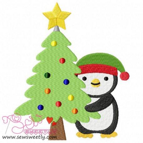 Cute Christmas Penguin-2 Embroidery Design