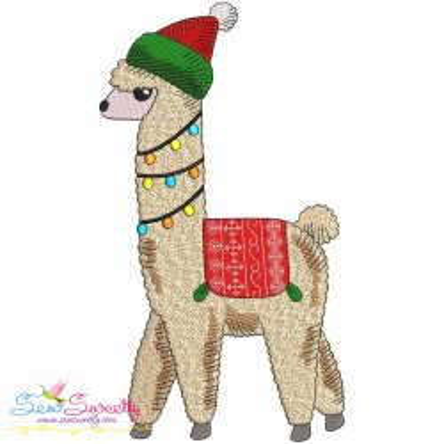 Christmas Llama-1 Embroidery Design- Category- Christmas Designs- 1