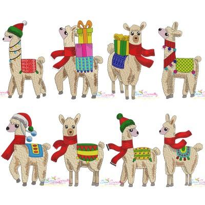 Christmas Llamas Embroidery Design Bundle Pattern- Category- Embroidery Design Bundles- 1
