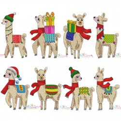 Christmas Llamas Embroidery Design Bundle