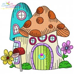 Gnome Mushroom House-1 Embroidery Design