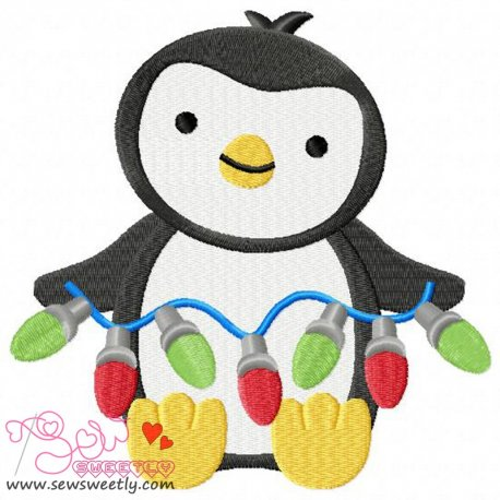 Cute Christmas Penguin-4 Embroidery Design
