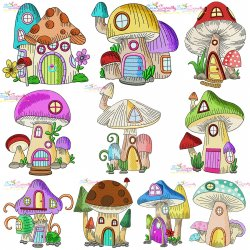 Gnome Mushroom Houses Embroidery Design Bundle