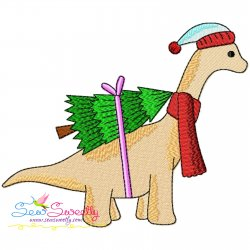 Christmas Dinosaur-6 Embroidery Design Pattern- Category- Christmas Designs- 1
