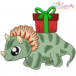 Christmas Dinosaur-5 Embroidery Design Pattern- Category- Christmas Designs- 1