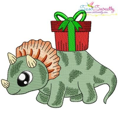 Christmas Dinosaur-5 Embroidery Design
