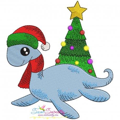 Christmas Dinosaur-4 Embroidery Design- Category- Christmas Designs- 1