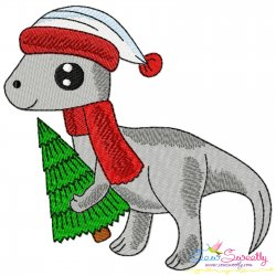 Christmas Dinosaur-2 Embroidery Design Pattern- Category- Christmas Designs- 1